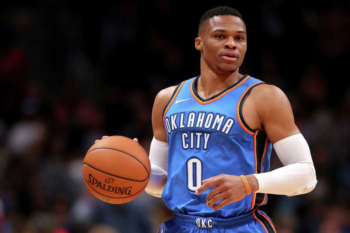 DENVER, CO - NOVEMBER 09: Russell Westbrook #0 of the Oklahoma City Thunder brings the ball down the court against the Denver Nuggets at the Pepsi Center on November 9, 2017 in Denver, Colorado. USER: User expressly acknowledges and agrees that, by downloading and or using this photograph, User is consenting to the terms and conditions of the Getty Images License Agreement. (Photo by Matthew Stockman/Getty Images) ORG XMIT: 775026817