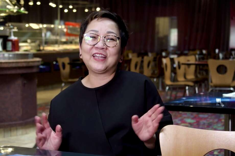 Daisy Li, CEO of Moonstar Buffet, sits inside the Daly City buffet just before the shutdown. Photo: Visual Street Films