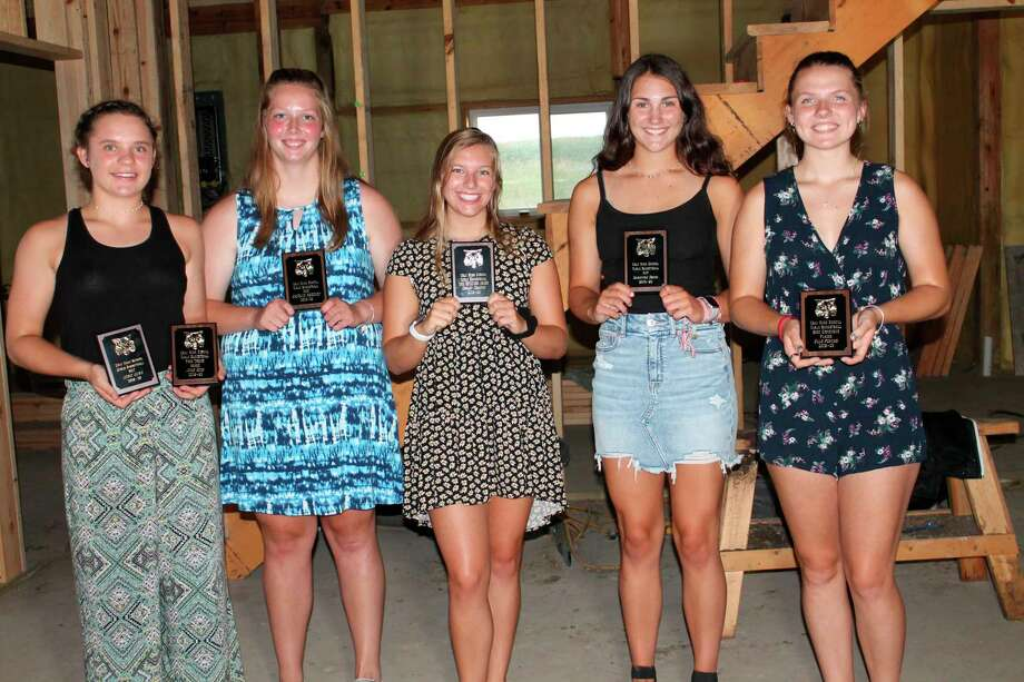 The Ubly Girls Basketball Program held their Awards Banquet on July 9. Pictured are players who won team awards. From left are co-MVP and Free Throw Award winner Josie Gusa, co-MVP Katelyn Sweeney, Kirk Bensinger Award winner Shelby Messing, Most Improved Player Sam Souva and Best Defensive Player Ellie Peruski. (Courtesy photo)