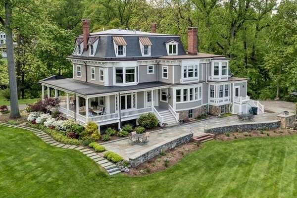 """Glenholme is the official name of this waterfront residence in Nyack, NY on the market for $3.5 million, but locals know it as the """"Stepmom"""" house."""