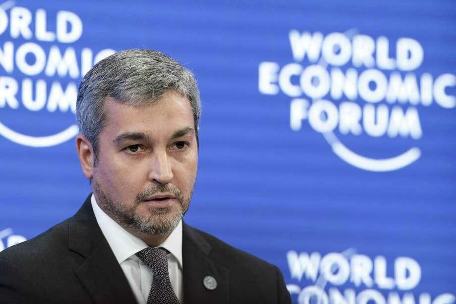 Mario Abdo Benitez, Paraguay's president, speaks at the World Economic Forum in Davos, Switzerland, on Jan. 22, 2019. Photo: Bloomberg Photo By Jason... </div>  <div class=