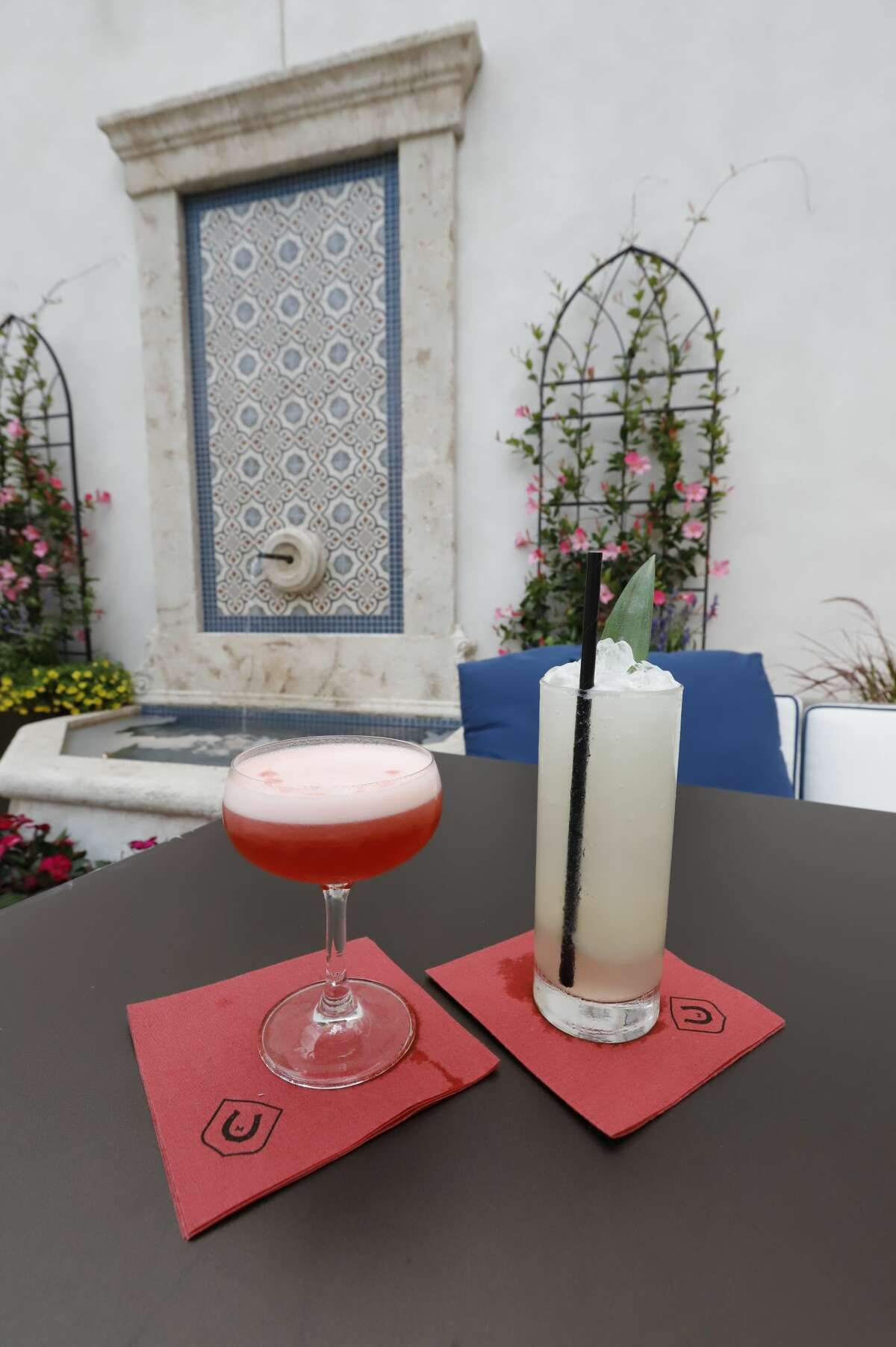 Cocktails available when you dine in the outdoor garden space at the Adelphi Hotel.