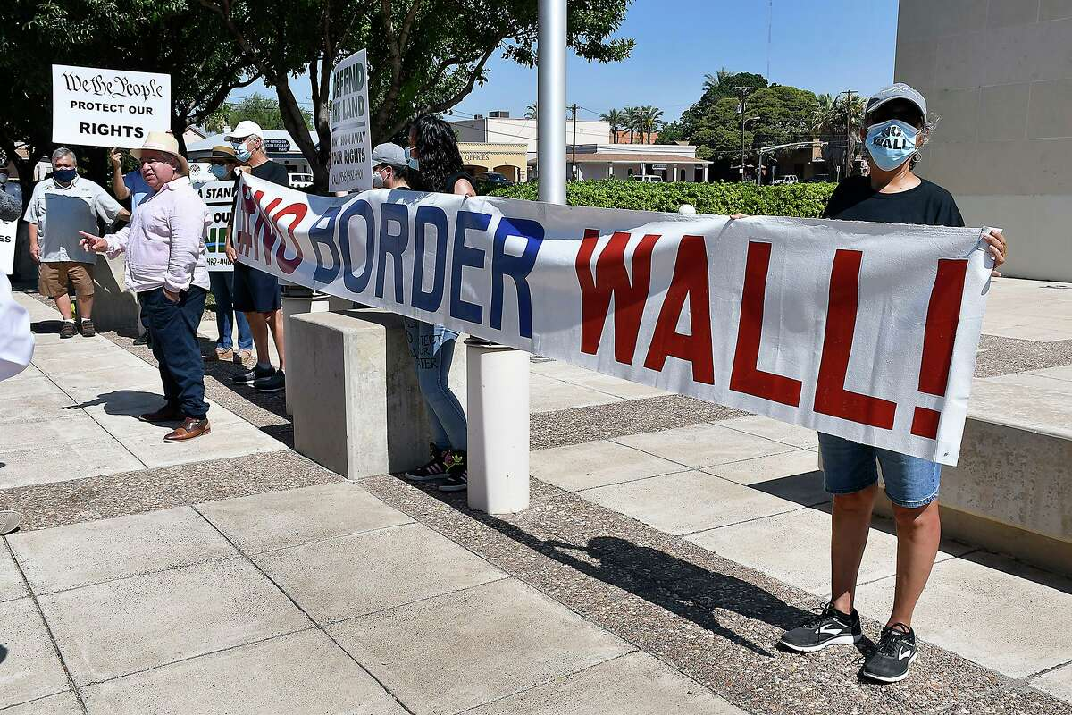 Landowners and members of the NoBorderWall Laredo Coalition participated in a press conference at the US Federal Courthouse Monday, July 13, 2020. The purpose of the event was to announce the filing of a new case.