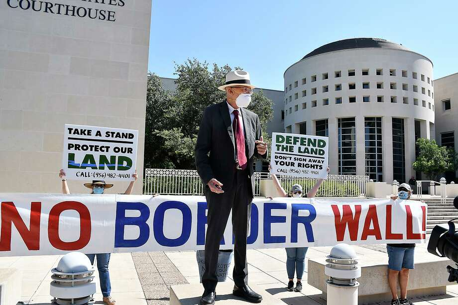 Landowners and members of the NoBorderWall Laredo Coalition participated in a press conference at the US Federal Courthouse on July 13 to announce the filing of a new case. Photo: Cuate Santos / Laredo Morning Times / Laredo Morning Times