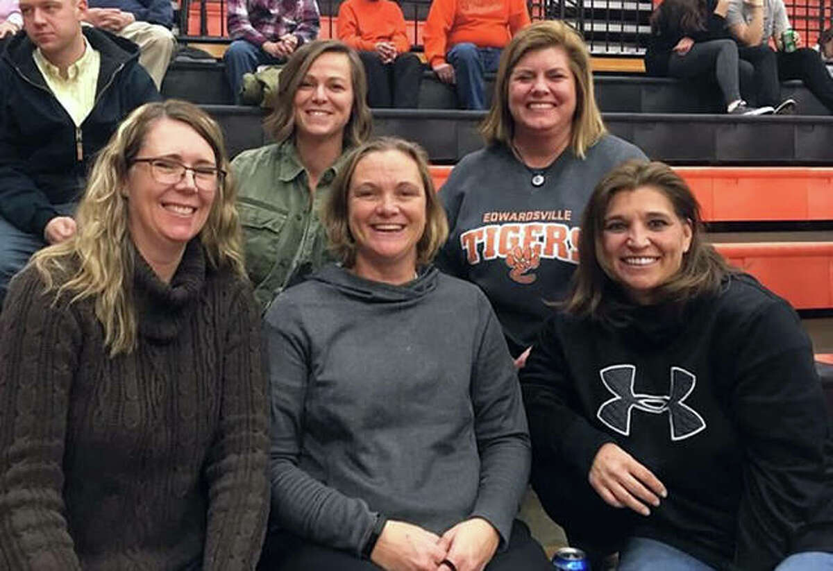 Edwardsville graduate Heather Haskins, front row center, was among the players in the EHS girls basketball alumni game on Dec. 27, 2019, at Lucco-Jackson Gymnasium.