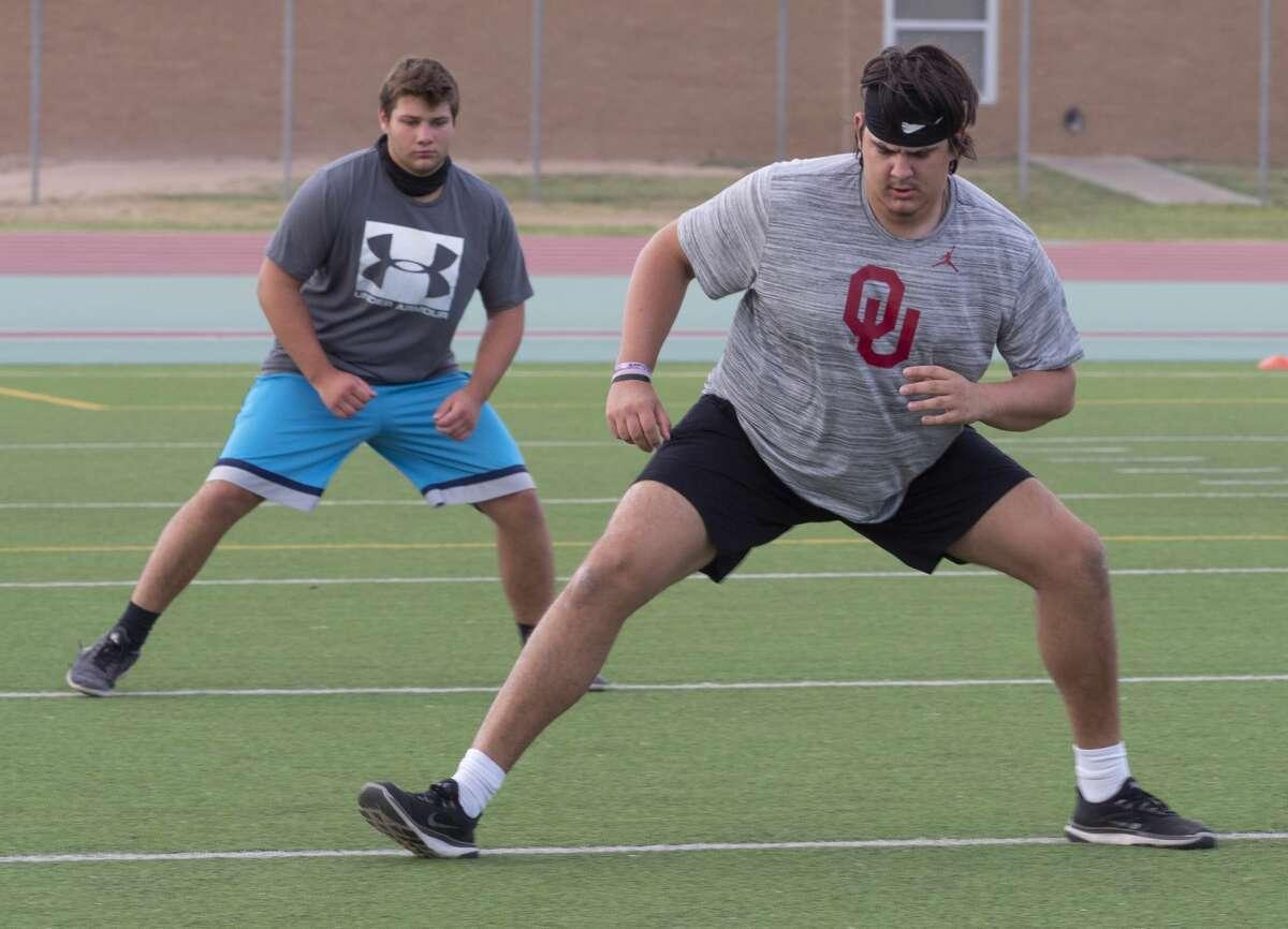 Midland High football players run drills during morning practice 07/14/2020 at Memorial Stadium. Tim Fischer/Reporter-Telegram