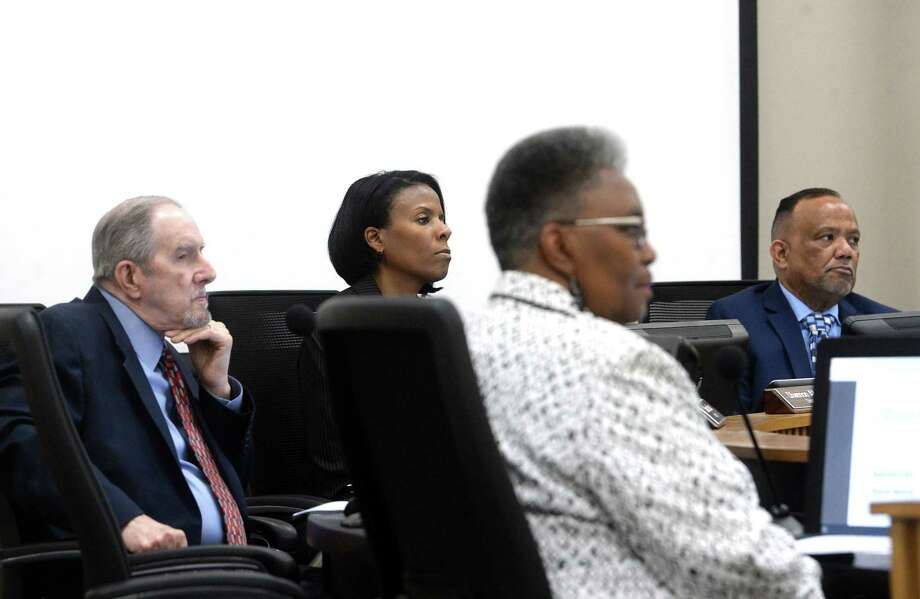 Beaumont ISD baord members take in comments before it swears in new trustees during its regular board meeting Thursday night. The all-local board is a first in years after being taken over by the TEA in 2014. Photo taken Thursday, February 20, 2020 Kim Brent/The Enterprise Photo: Kim Brent / Kim Brent/The Enterprise / BEN