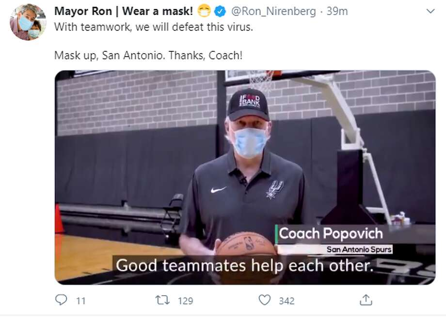 Spurs leader Gregg Popovich is doing his part in coaching San Antonians through a game plan to keep each other healthy during a surge of COVID-19 cases and hospitalizations straining the local health systems. Photo: Twitter Screengrab