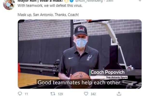 Spurs leader Gregg Popovich coached San Antonians through a game plan to keep each other healthy through the current COVID-19 outbreak, which is adding hundreds of new cases daily and straining the local hospital system.