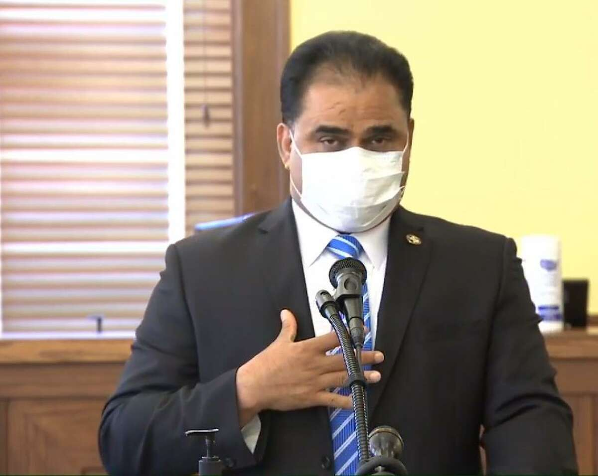 Fort Bend County Judge KP George held a press conference in July 2020 to alert the public that the county had advanced to Level 1 or