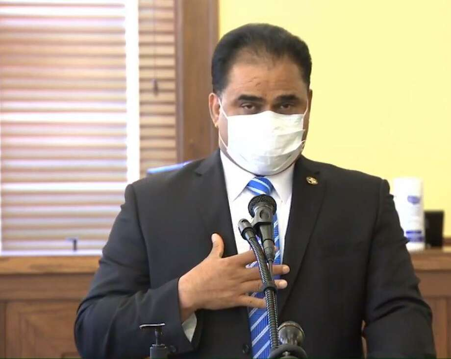 """Fort Bend County Judge KP George held a press conference in July 2020 to alert the public that the county had advanced to Level 1 or """"Code Red,"""" the highest possible COVID-19 threat level. Photo: Courtesy Office Of KP George"""