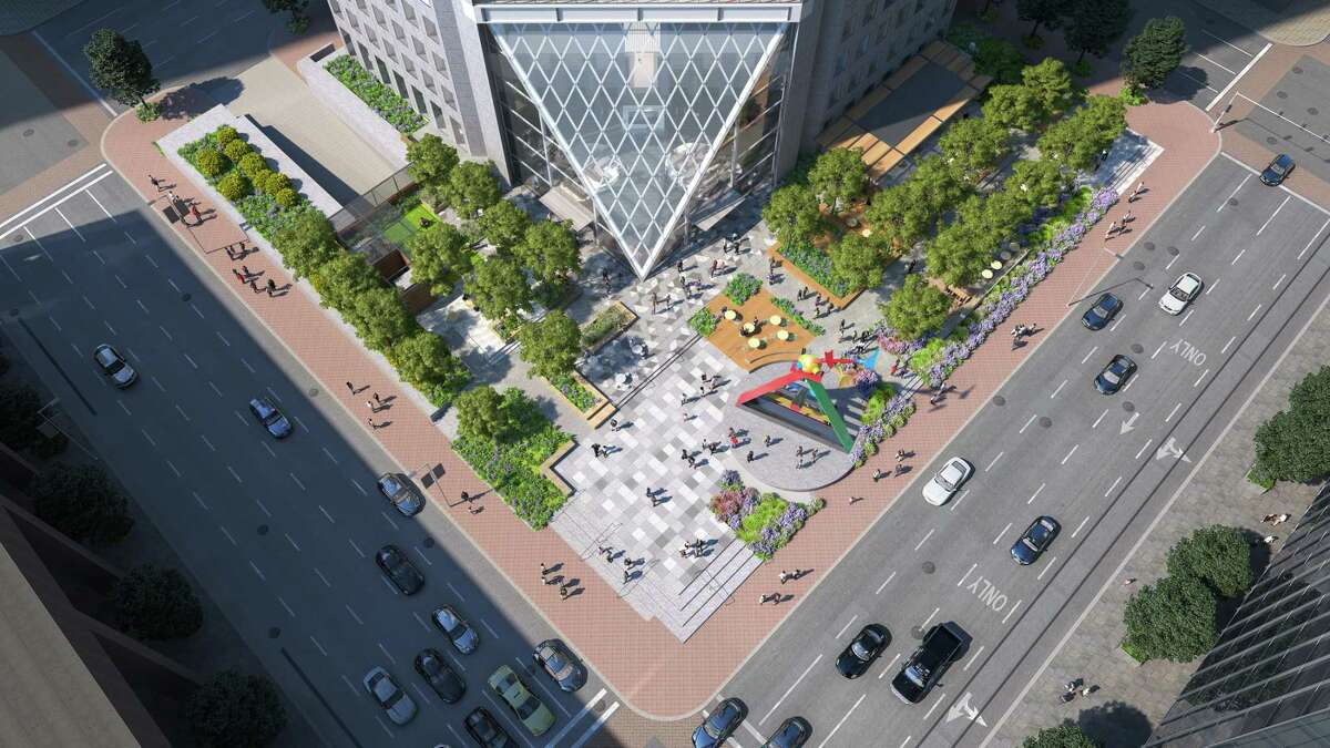 A newly designed pyramid entrance and plaza will be part of the transformation of 600 Travis in downtown Houston. Building owners Hines and Cerberus Capital Management hired HOK for the project, which will bring an urban garden with a variety of seating areas to an underutilized plaza.