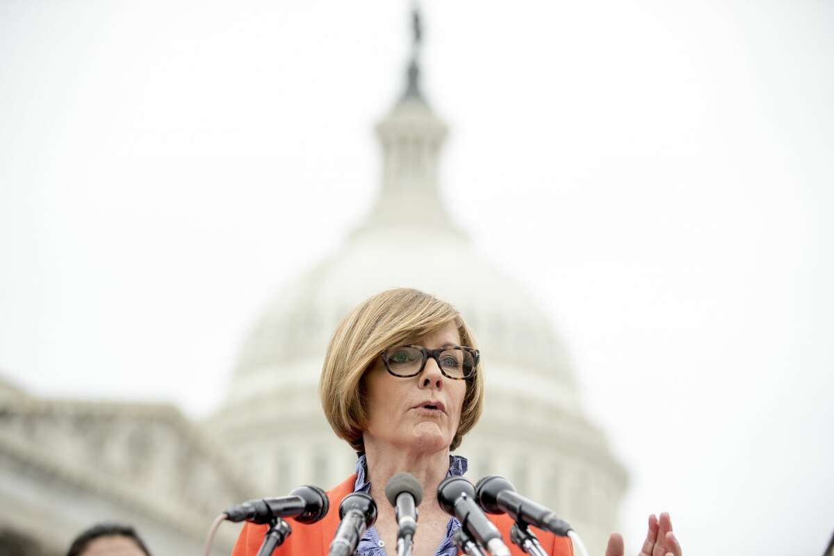 FILE - In this Jan. 17, 2019, file photo Rep. Susie Lee, D-Nev., speaks at a news conference on Capitol Hill in Washington. At least 10 lawmakers and three congressional caucuses have ties to organizations that received federal coronavirus aid, according to government data released this week. A regional casino company led by the husband of Rep. Susie Lee received money. (AP Photo/Andrew Harnik, File)