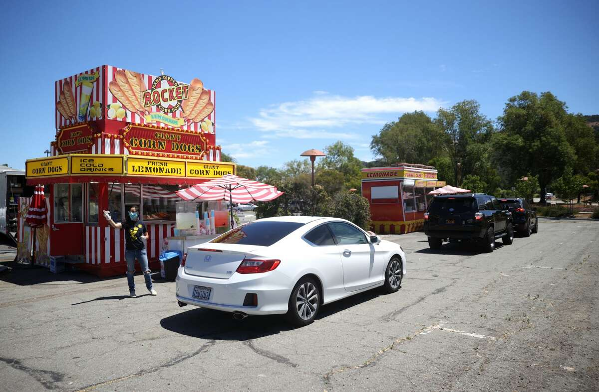 With county fairs being canceled across the United States due to the coronavirus COVID-19 pandemic, Marin County Fair officials have set up a drive-thru food fair that features county fair favorites like corndogs, cotton candy and funnel cakes. The drive-thru food fair will run from 11 a.m. to 8 p.m. on July 17-19.