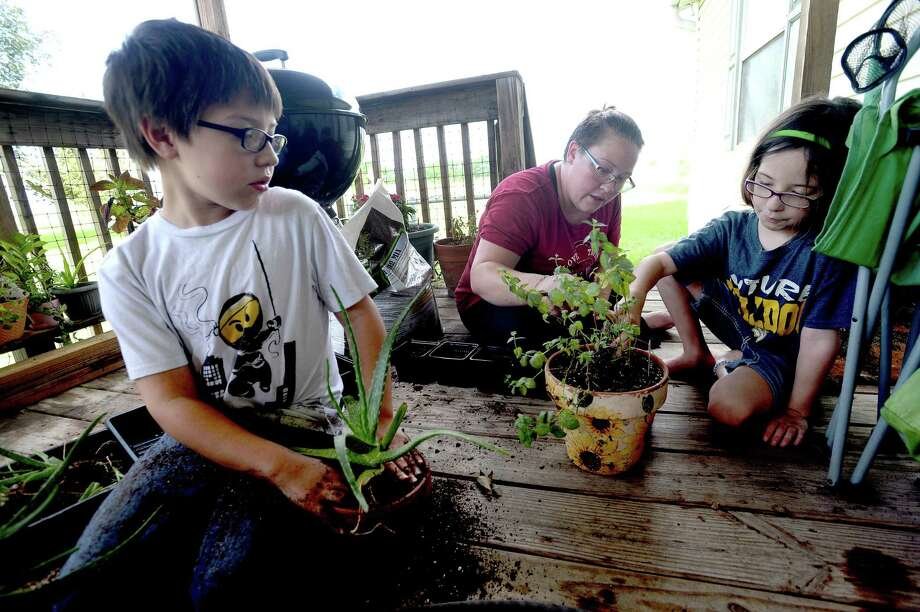 Delayna Gonzalez-Keller works with her children Isaiah, 9, and Evelyn, 8, as they trim plants and pot aloe in their home garden. It is one of many projects the family have undertaken to daily life and activities amid the stressors of COVID-19. Delayna is still furloughed from her job and husband Joe Keller's workload has decreased due to the virus. The economic strain and uncertainty for the future has caused them to scale back on extracurriculars like dance classes. Photo taken Friday, July 10, 2020 Kim Brent/The Enterprise Photo: Kim Brent / The Enterprise / BEN