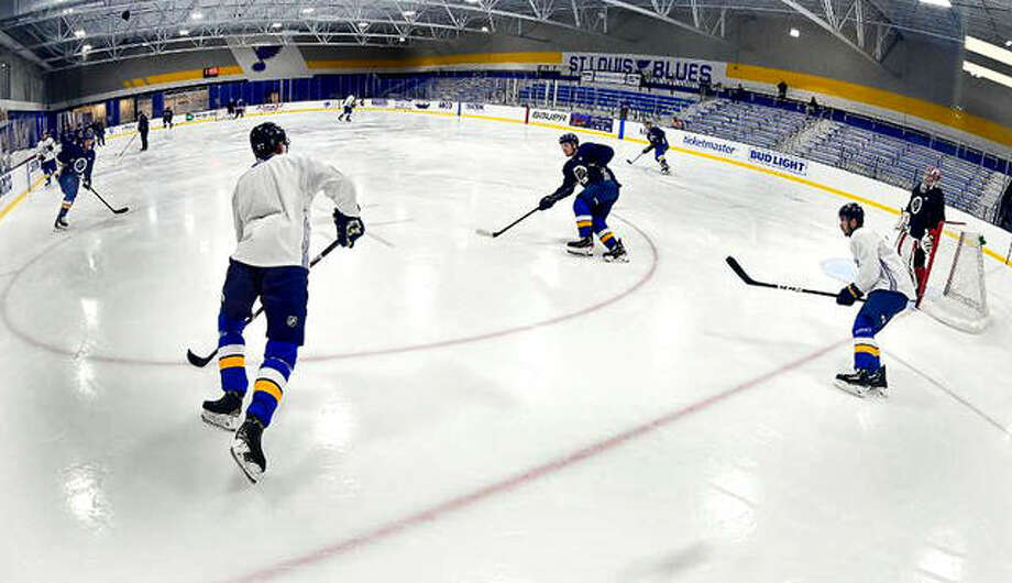The Blues break during a scrimmage as they practice earlier this week at their practice facility in Maryland Heights. Photo: Scott Rovak | St. Louis Blues