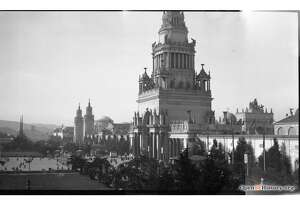 A view of the 1915 Panama-Pacific International Exposition looking down toward the Tower of Jewels.