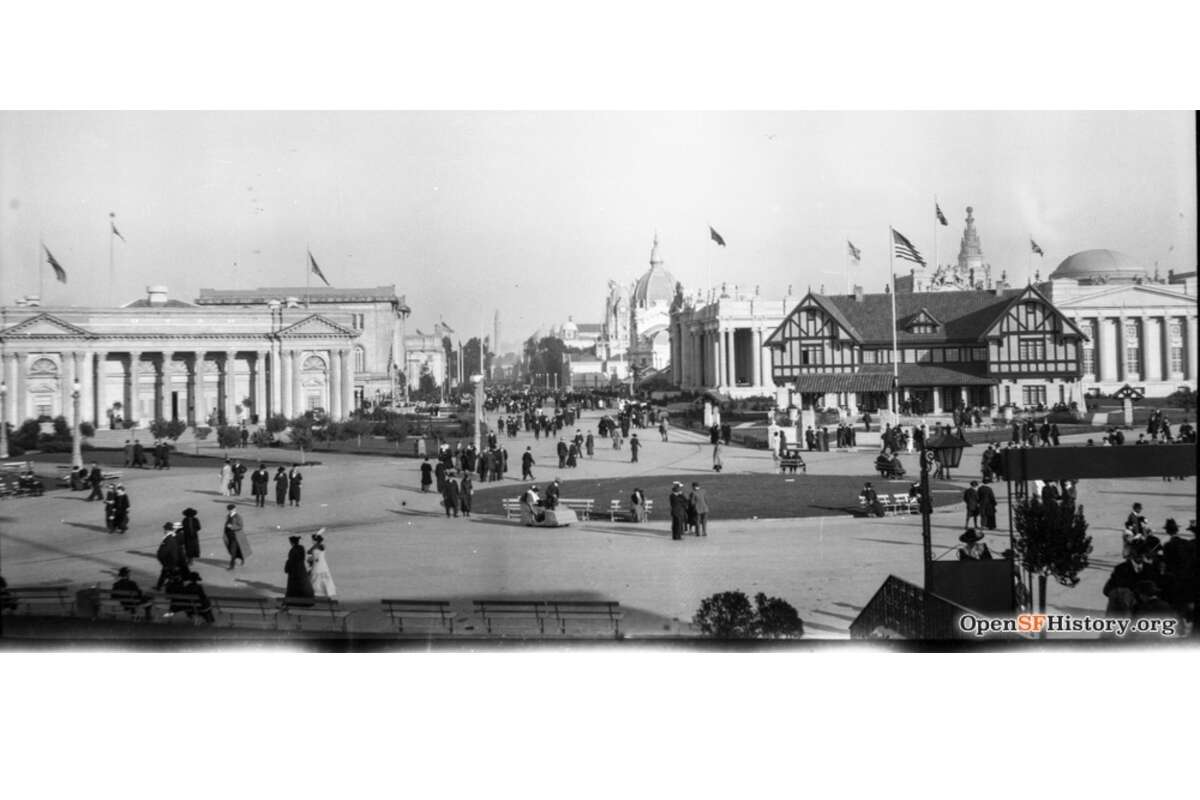 The event was San Francisco's triumphant return to the national stage, its first big gathering since the 1906 earthquake and fire razed the city. Like other popular fairs of the era, special exhibition halls were purpose-built to show off modern inventions, cultural exhibits and food vendors. This panorama shows a number of marquee buildings at the expo. In view are the Massachusetts Building, the Utah Building (left) and the Indiana Building (right) in the foreground.