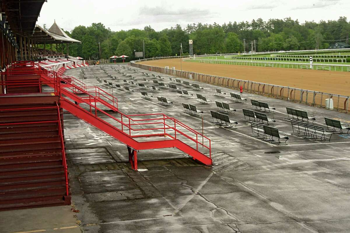 The stands will void of fans this year during the meet at Saratoga Race Course due to COVID-19 on Tuesday, July 14, 2020 in Saratoga Springs, N.Y. (Lori Van Buren/Times Union)