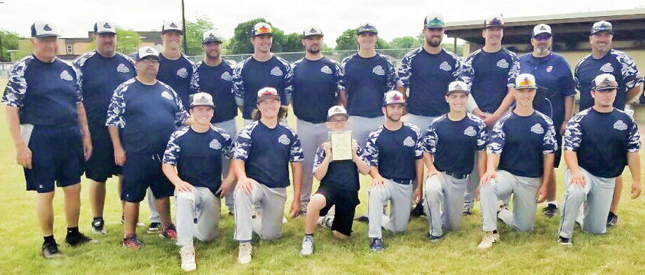 Members of the Gladwin Thunder baseball team which won the Red Division at the Ultimate Strike Zone tournament recently are (front, from left) Dane Smitz, Colin Sackrider, Hayden Novak, Drew Grove, Reed Raymond, Jarrett Inscho, John Cogswell; and (back, from left) manager Terry Brokoff, assistant coach Scott Brokoff, assistant coach Mark Novak, Carson Oldani, Hunter Merillat, Owen Franklin, Lane Peters, Chase Raymond, Ethan Shea, Trent Reed, assistant coach Dan Merillat, and assistant coach Ryan Raymond. Not pictured is Isaac Morrison. Photo: Photo Provided