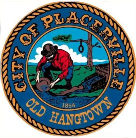 The City of Placerville, Calif., logo (from its Facebook page) shows a miner panning for gold in front of a tree with a hangman's noose. The city reportedly will decide whether to remove the noose at its Tuesday, July 14, 2020, meeting. Photo: City Of Placerville