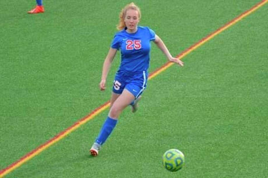 Chippewa Hills' Alma Swier works with the ball in soccer action last season. (Courtesy photo)