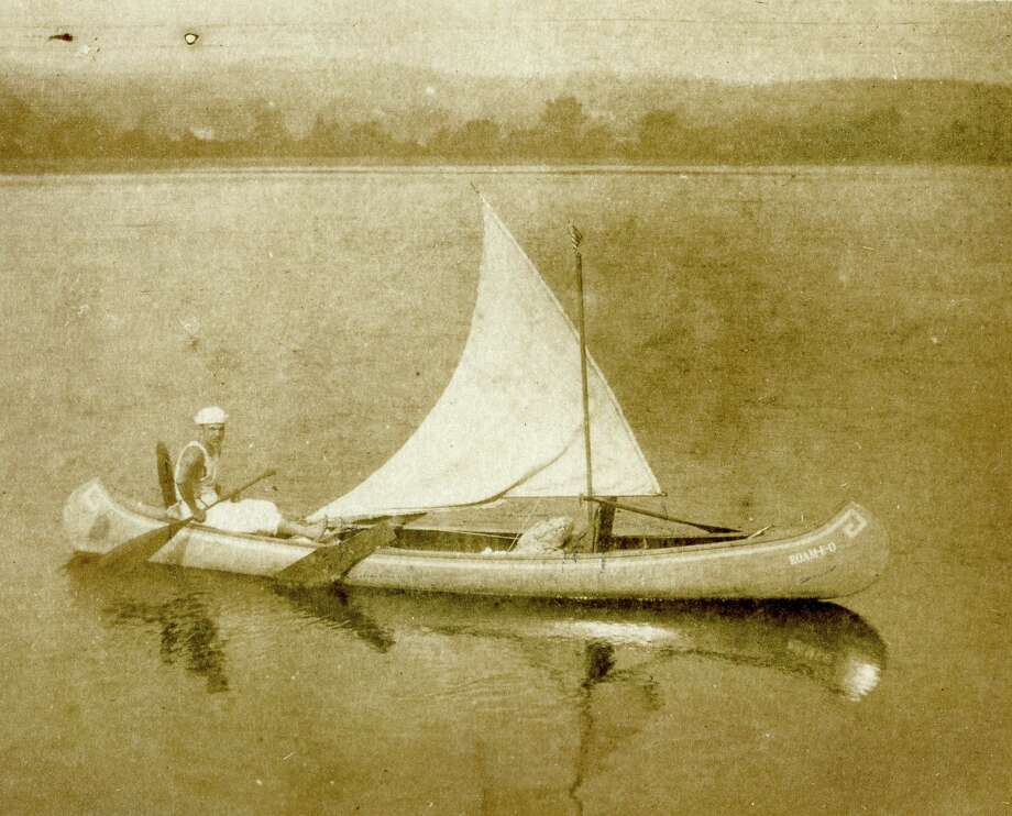 "Latham ""Buck"" Howard in his canoe, Roam-e-o, part of the River of Dreams: Paddling on the Connecticut River exhibit at the Connecticut River Museum in Essex. Photo: Contributed Photo"