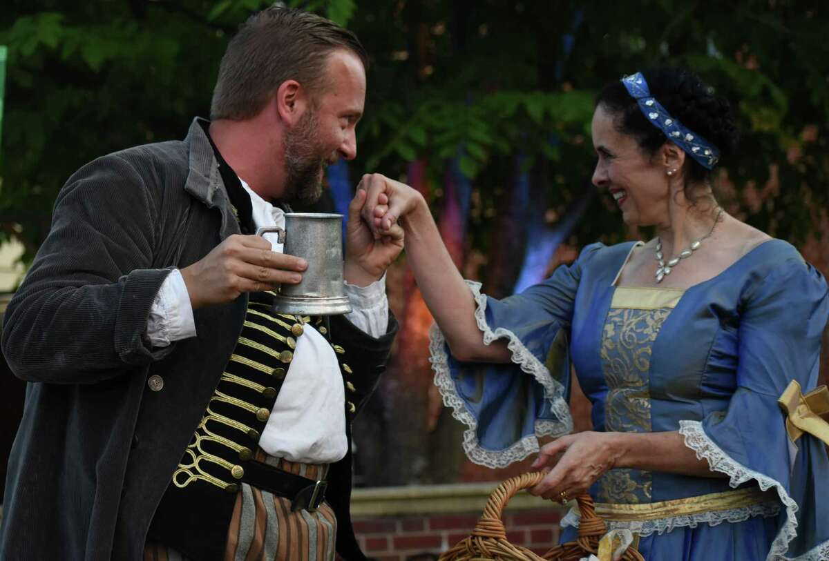 """Nick Roesler and Laura Sheehan in Capital Classics' Greater Hartford Shakespeare Festival production of """"The Merry Wives of Windsor"""" in 2019."""