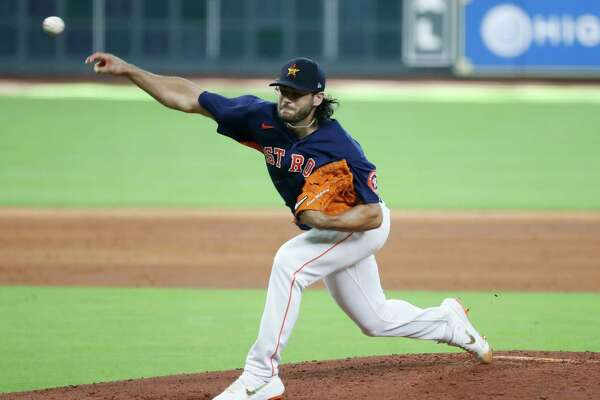 Houston Astros pitcher Lance McCullers Jr. pitches during an intrasquad game at the Astros summer camp at Minute Maid Park, Tuesday, July 14, 2020, in Houston.