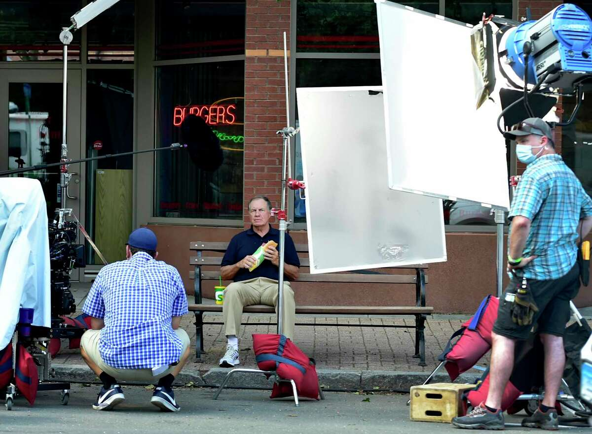 New England Patriots Coach Bill Belichick filming a Subway commercial in Brandford, Conn. on July 14. Bill Belichick filming in Branford New England Patriots Coach Bill Belichick was in Branford on July 14 to film a television commercial for Subway. Belichick, who has led the Patriots to six Super Bowl titles in his 20 years as coach, drew a crowd of several dozen to Main Street, according to observers.