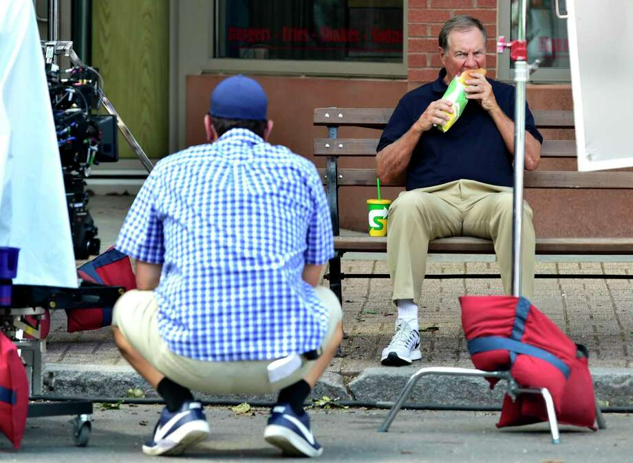 New England Patriots coach Bill Belicheck on Main Street in Branford Tuesday filming a commercial for Subway. Photo: Peter Hvizdak / Hearst Connecticut Media / New Haven Register