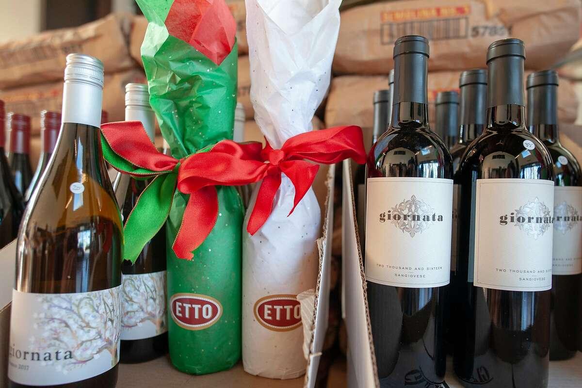 Bottles of wine for sale at Etto Pastificio in Paso Robles, Calif