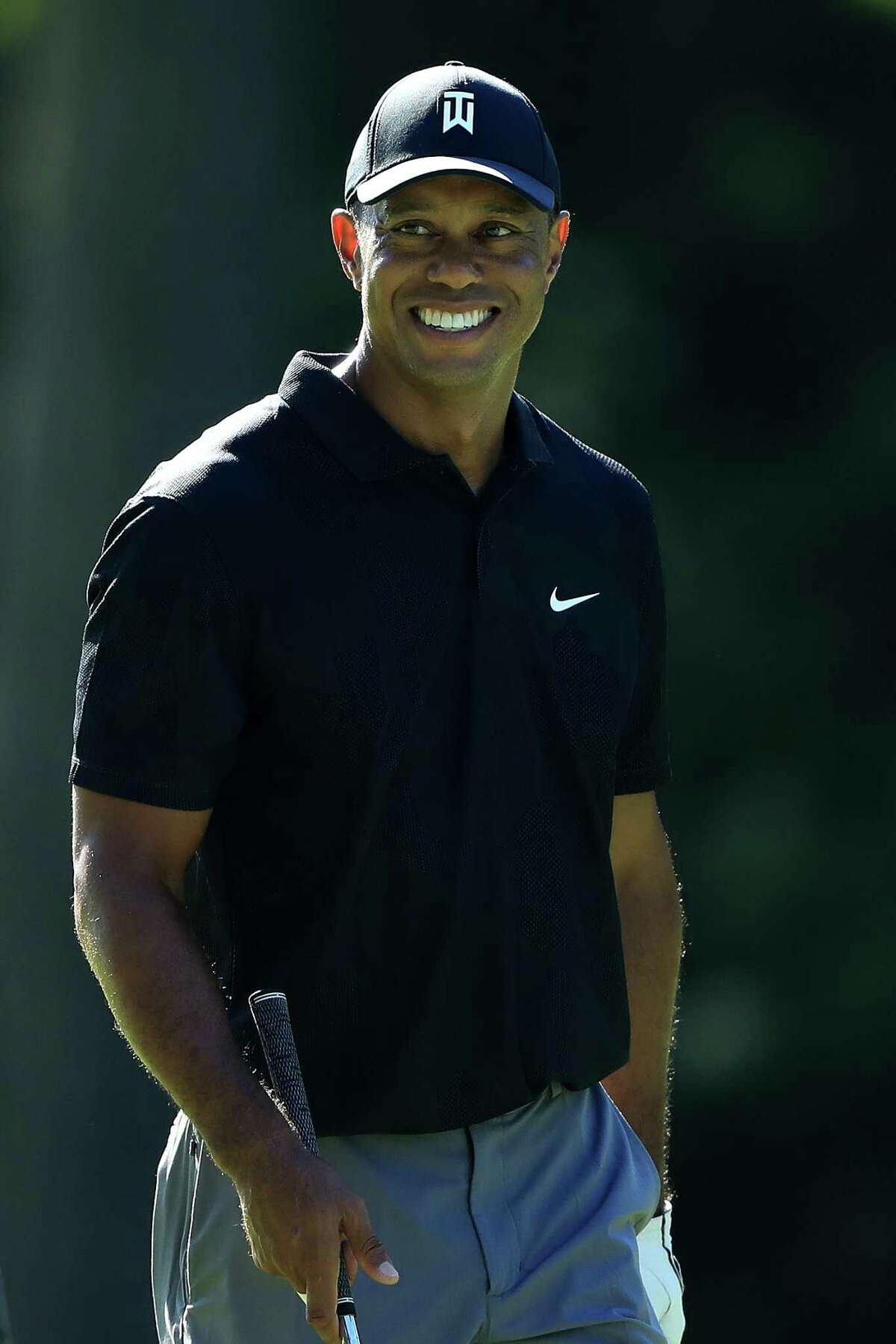 DUBLIN, OHIO - JULY 14: Tiger Woods smiles during a practice round prior to The Memorial Tournament at Muirfield Village Golf Club on July 14, 2020 in Dublin, Ohio. (Photo by Sam Greenwood/Getty Images)