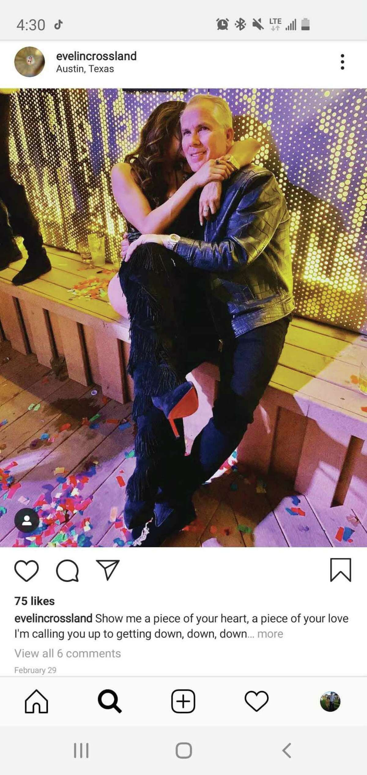 Thomas J. Henry and Evelin Crossland are seen in an image from her Instagram account. The image was part of a court exhibit filed June 29 in litigation unfolding in San Antonio.