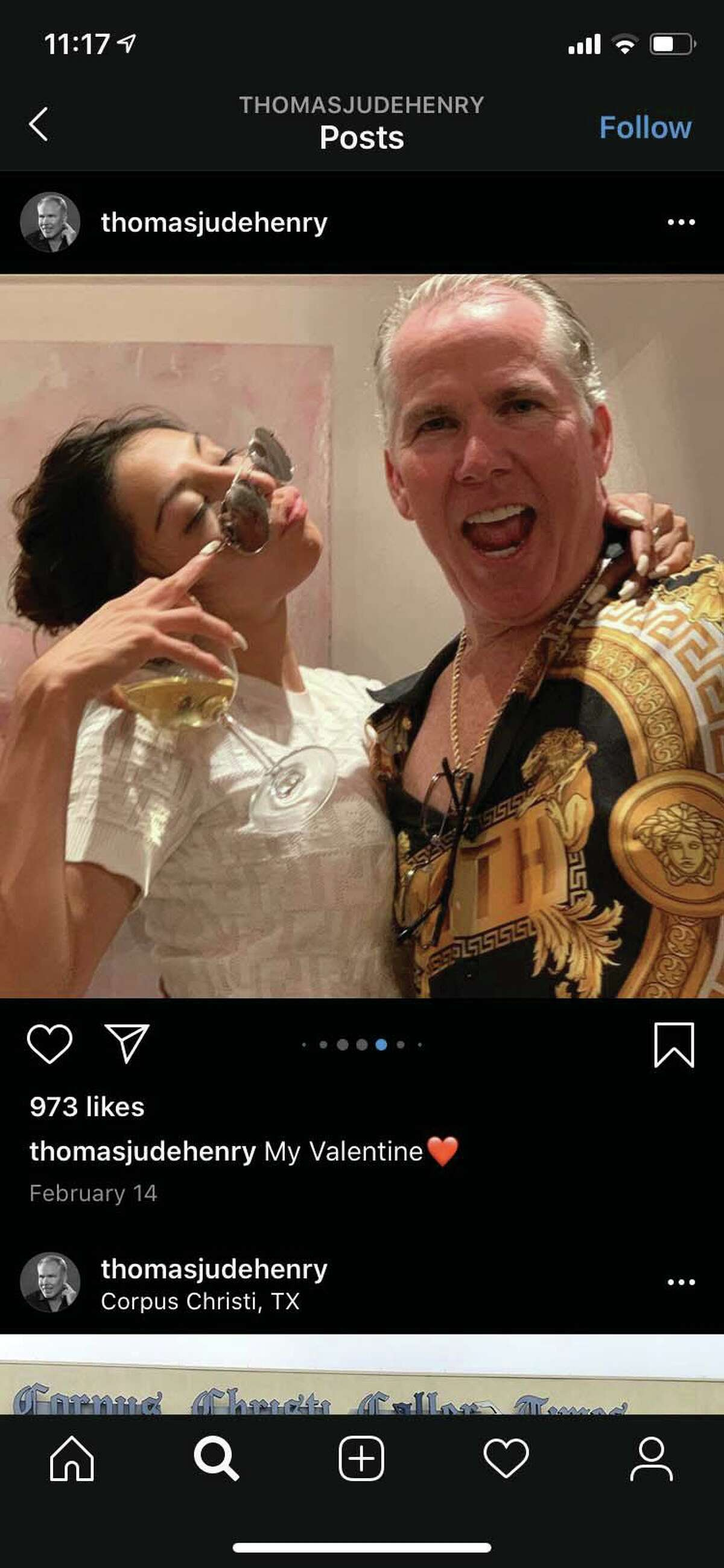 Thomas J. Henry and Evelin Crossland are seen in an image from Henry's Instagram account. The image was part of a court exhibit filed June 29 in litigation unfolding in San Antonio.
