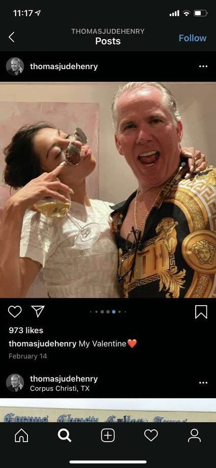 Thomas J. Henry and Evelin Crossland are seen in an image from Henry's Instagram account. The image was part of a court exhibit filed June 29 in litigation unfolding in San Antonio. Photo: Court Exhibit / COURTESY TEXAS STATE DISTRICT COURT
