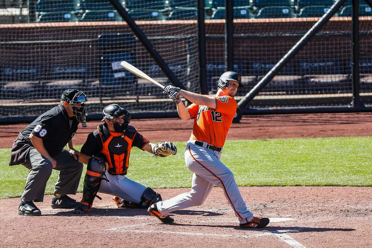 San Francisco Giants Alex Dickerson is up to bat during Spring Training at Oracle Park on Sunday, July 12, 2020 in San Francisco, California.