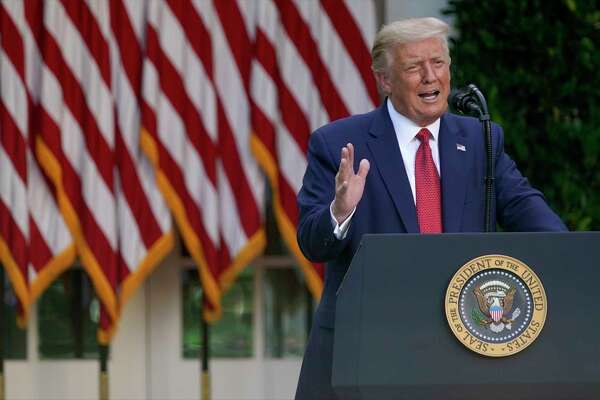 President Donald Trump speaks during a news conference in the Rose Garden of the White House, Tuesday, July 14, 2020, in Washington.