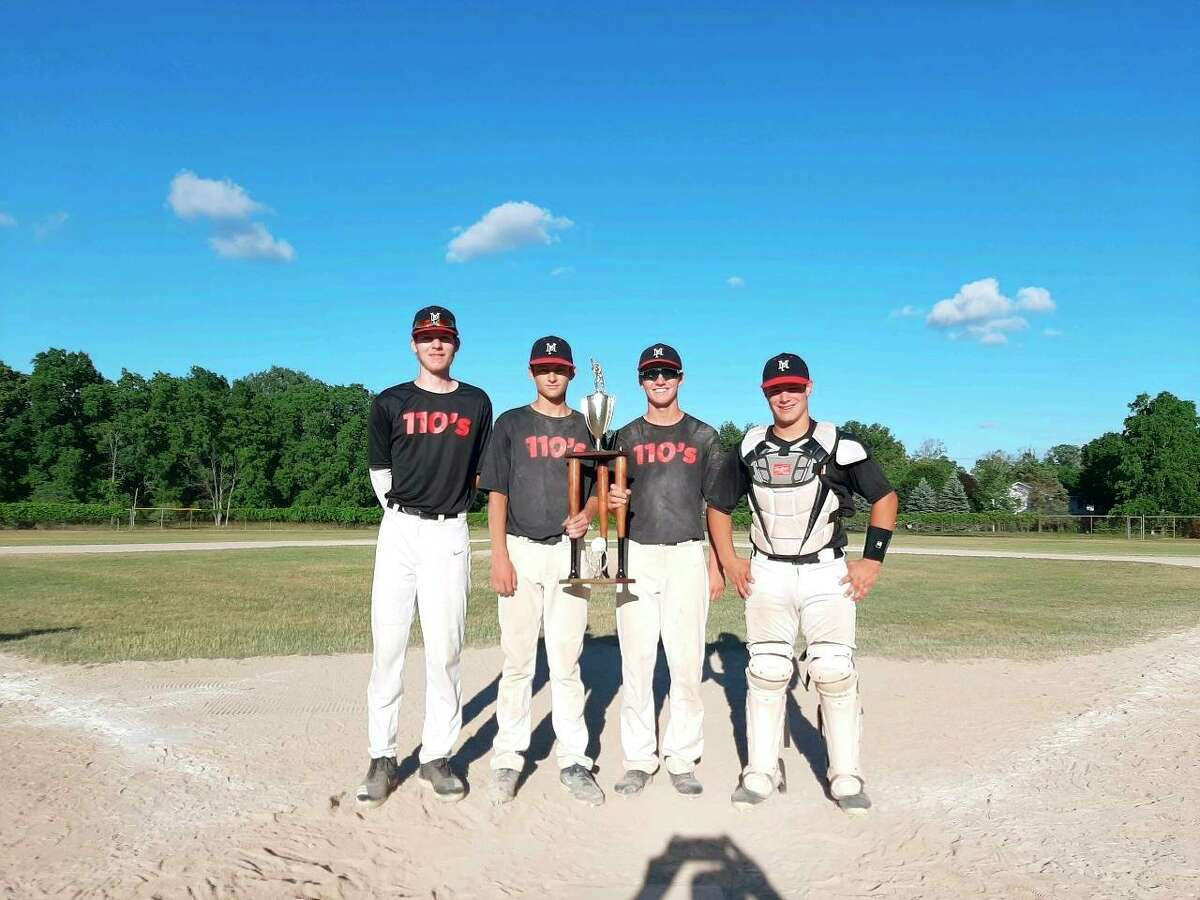 Holding the Quad City Storm tournament trophy from over the weekend are, from left, Nate Sochocki, Pierce Johnson, Danny Witbeck, and Reese Ransom. (Coutesy photo)