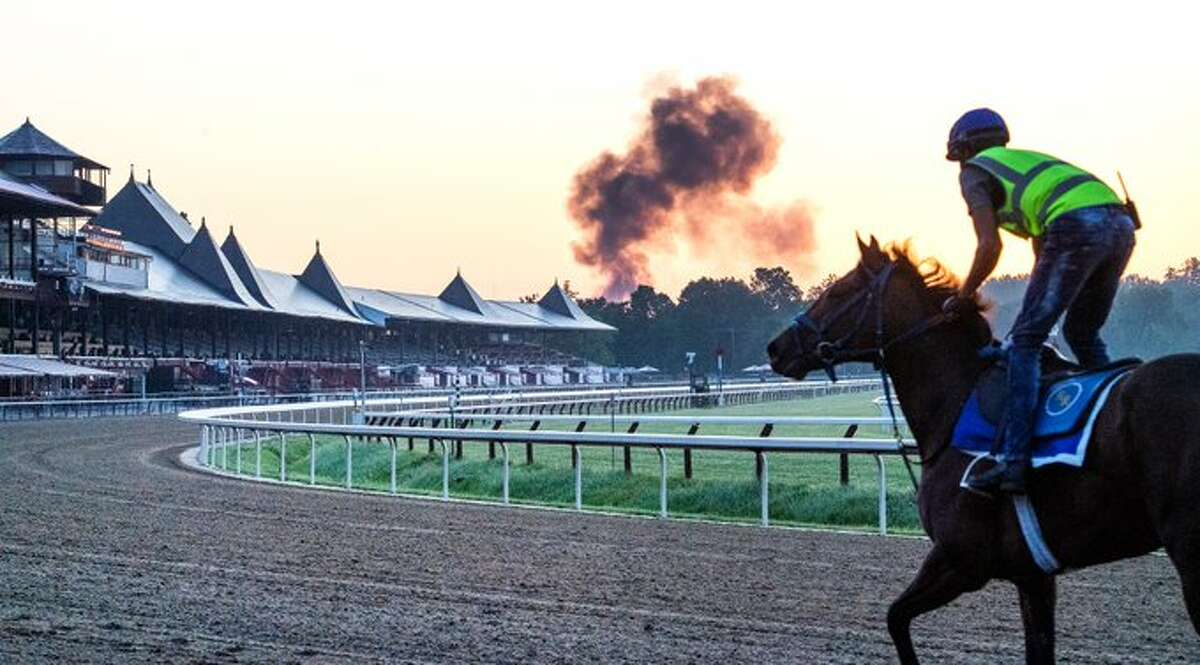 The quiet of early morning workouts at Saratoga Race Course was interrupted by an explosion and a column of black smoke that SaratogaSprings police said was caused by the explosion of a tractor trailer on the Northway.