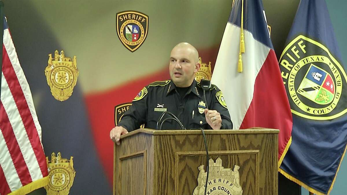 (FILE) Bexar County Sheriff Javier Salazar speaks to reporters