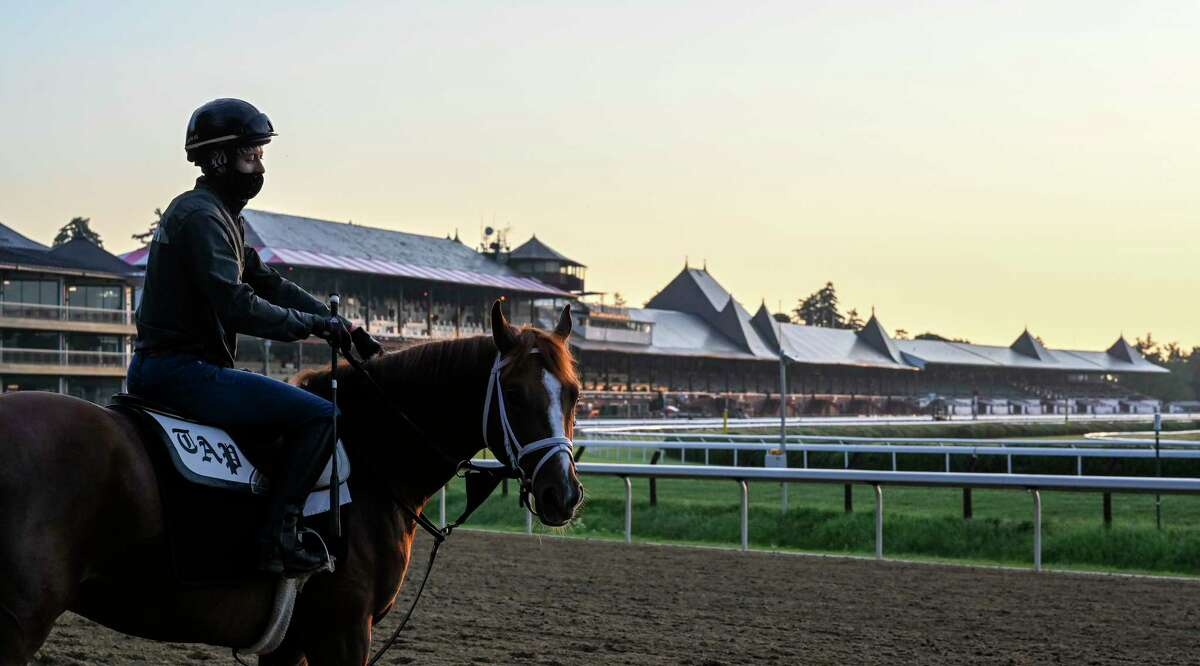Exercise rider Adel Bellinger sits atop Lonely Party as she prepares to go out for a gallop in the early morning the day before opening day at Saratoga Race Course July 15, 2020 in Saratoga Springs, N.Y. Photo by Skip Dickstein/Special to the Times Union.