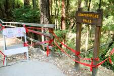 Anything that might make social distancing more of a challenge at Big Basin Redwoods State Park was taped off.