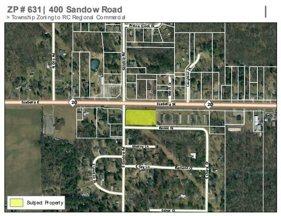 A piece of property on the corner of M-20 and Sandow Road was annexed into the City of Midland last year and will be zoned for commercial developments such as banks, hotels, restaurants, gas stations and more, if approved by council. (Agenda photo)