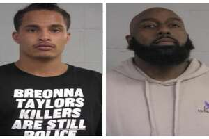 Houston Texans receiver Kenny Stills (left) and Houston rapper and activist Trae Tha Truth were arrested and booked after protesting outside the home of Kentucky Attorney General Daniel Cameron on Wednesday, July 15, 2020.