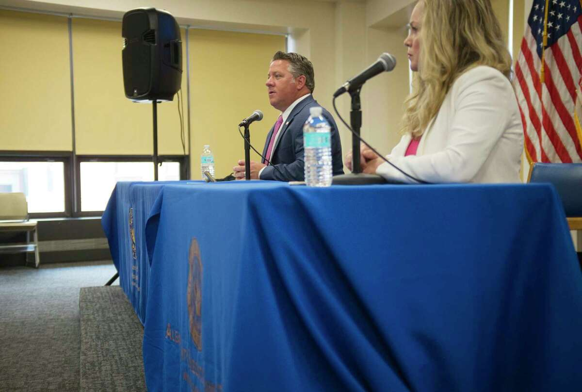 Albany County Executive Dan McCoy, left, and Albany County Department of Health Commissioner Dr. Elizabeth Whalen, take part in a press conference on Wednesday, July 15, 2020, in Albany, N.Y. to talk about COVID-19. (Paul Buckowski/Times Union)
