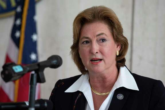 Harris County District Attorney Kim Ogg at a press conference Wednesday, July 1, 2020, in Houston.