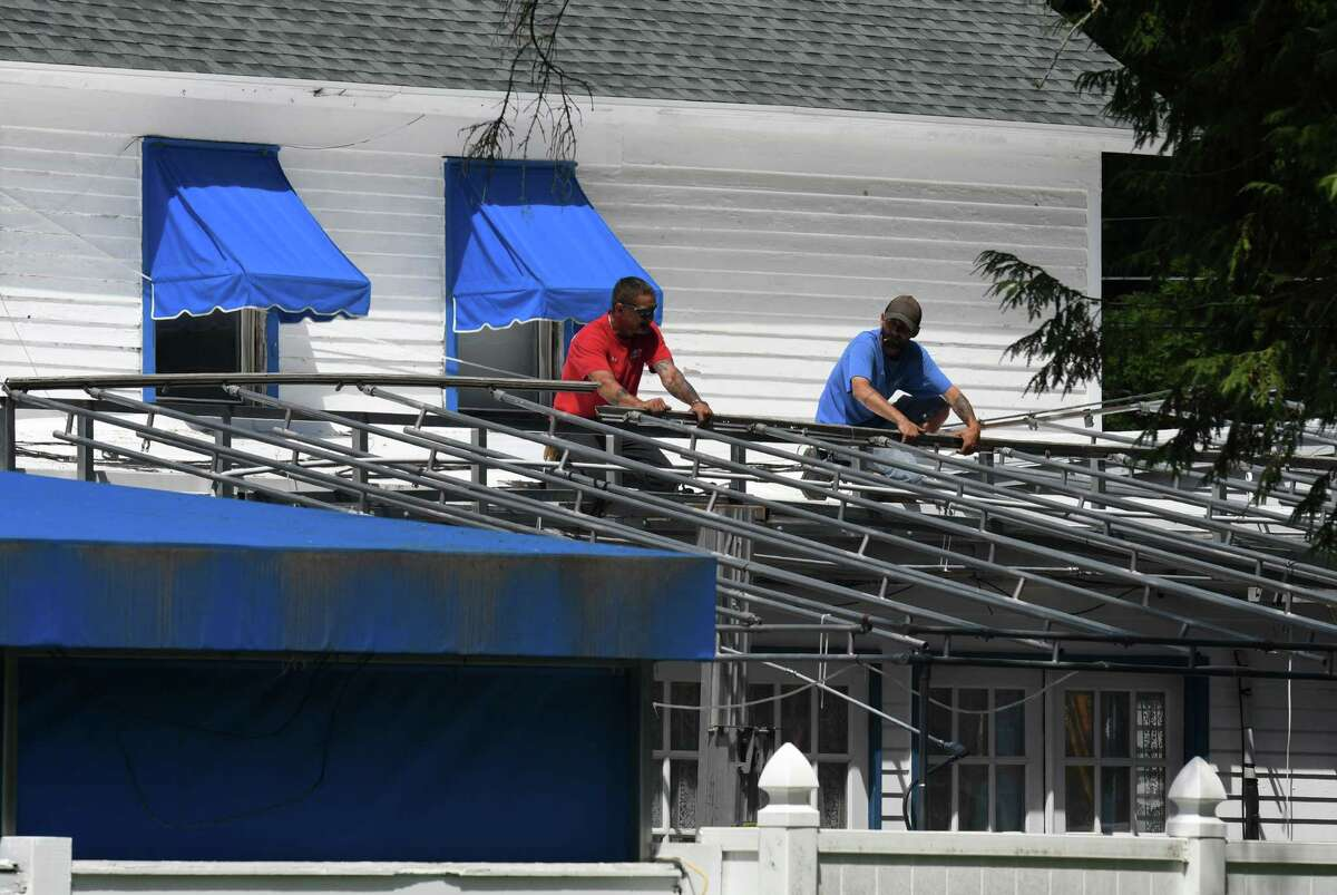 The patio awning at Siro's Restaurant & Bar is prepared for the Saratoga race meet on Wednesday, July 15, 2020, in Saratoga Springs, N.Y. Racing begins begins Thursday at Saratoga Race Course. (Will Waldron/Times Union)