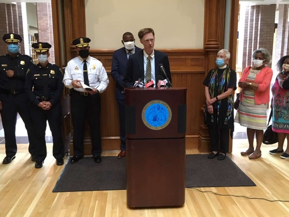New Haven Mayor Justin Elicker speaks to the media on July 15, 2020 about violence in the city.