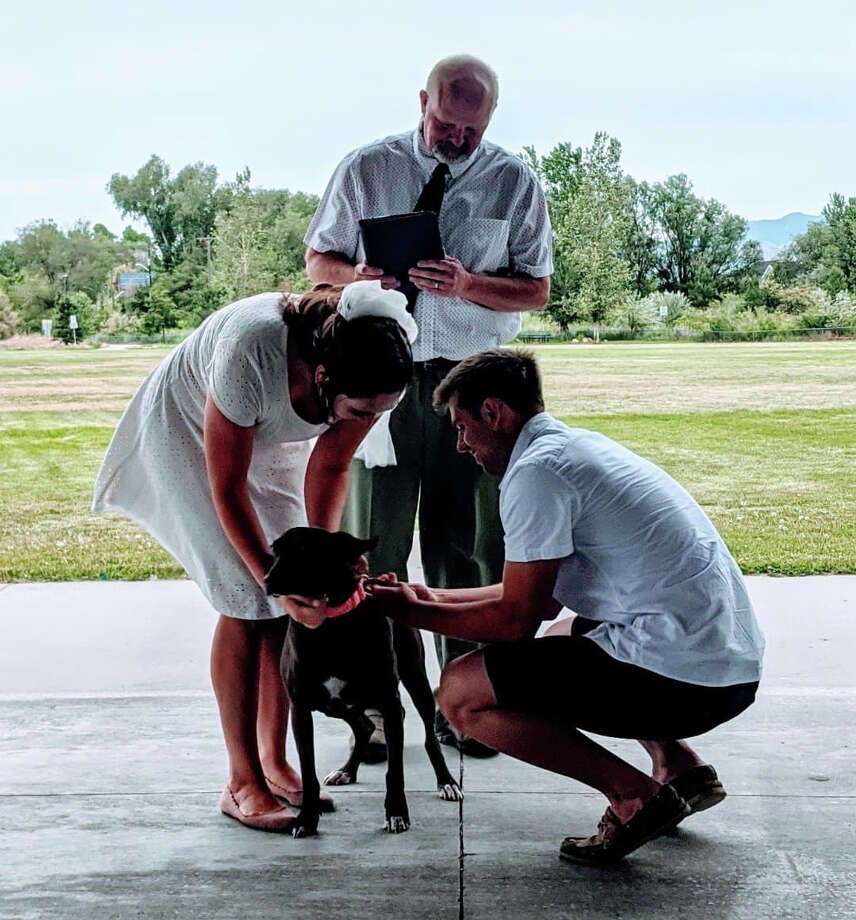 When Midland native Brett Perry, right, and his wife, Stephanie, got married in Salt Lake City, Utah, in June, their dog, Maggie, served as the ring bearer. Photo: Photo Provided